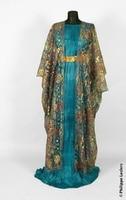 Fortuny Delphos pleated dress w/ burnout velvet over piece Victorian dress satin dress
