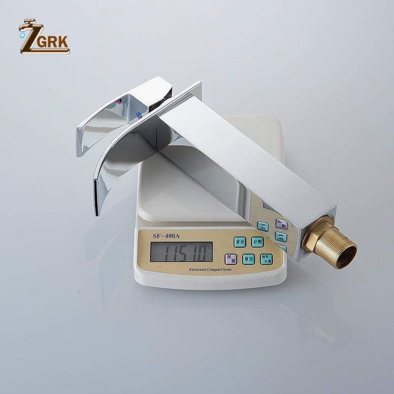 ZGRK robinet de lavabo moderne blanc robinet de salle de bain robinets cascade monotrou robinet d'eau froide et chaude robinet de lavabo noir robinet mitigeur - 5