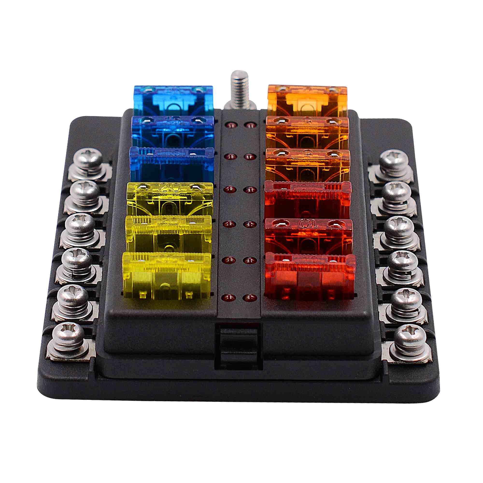 12 way car circuit blade fuse box holder 12v car