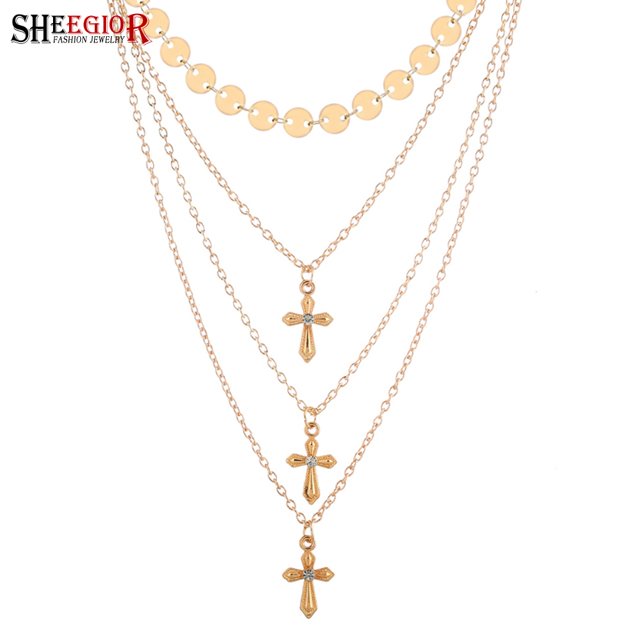 NEW Ethnic Cross Necklace Women Fashion Jewelry Love Sexy Gold Silver Wafer Multilayer Chains Clavicle Choker Necklaces