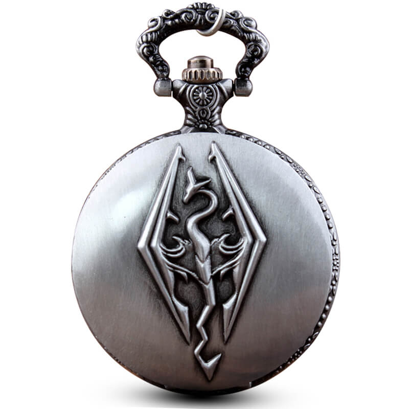 Elder Scrolls Skyrim Pocket Watches Chains Retro Engraved Dragon Quartz Pocket Watch Necklace Pendent Gifts Reloj De Bolsillo