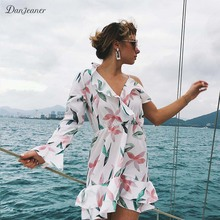 Danjeaner Sexy V-neck Ruffles White Floral Print Beach Dress Women Summer Plus Size Mini Holiday Dresses Slim Fit Casual Dress