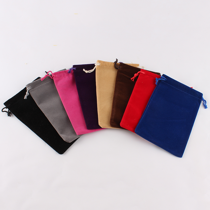 100pcs/lot 10*16cm High Quality Customized Logo Printed Velvet Drawstring Pouch Packing Bags Gift Food Cookie Packaging Bags