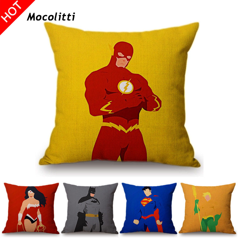 Yellow Super Heros Iron Man Batman Superman Wonder Woman Comic Home Decorative Throw Pillow Cover Linen Car Sofa Cushion Cover image