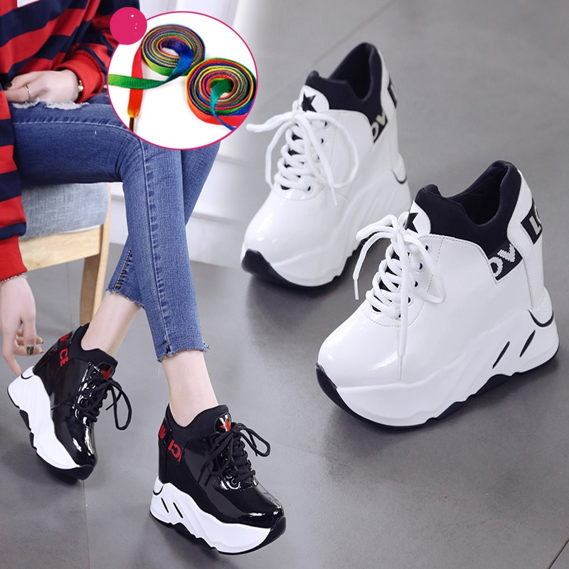 Women Sneakers Fashion Women Height Increasing Breathable Lace-Up Wedges Platform Canvas Shoes Woman Casual Sports Walking Shoes