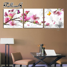 FULLCANG diy triptych diamond painting orchid & butterfly 3 pieces mosaic cross stitch 5d diamant embroidery full drill G1311