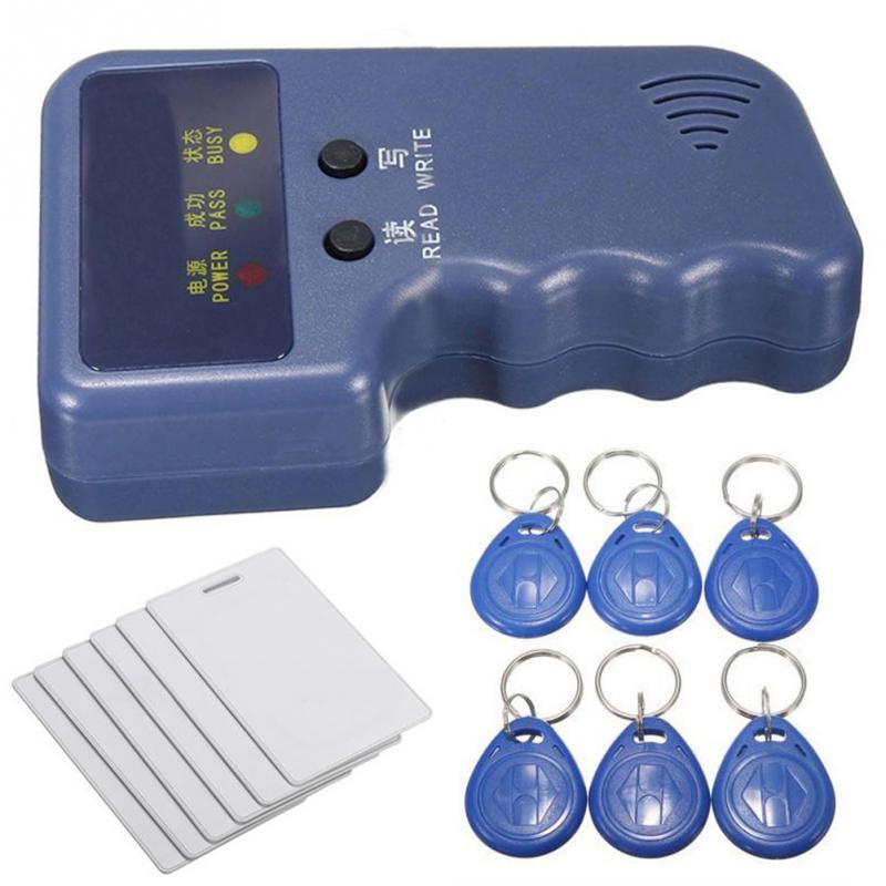 Handheld 125KHz RFID Copiadora Escritor Duplicador RFID EM ID Copiadora + 5 Pcs EM4305/T5577/CET5200 Regravável keyfobs
