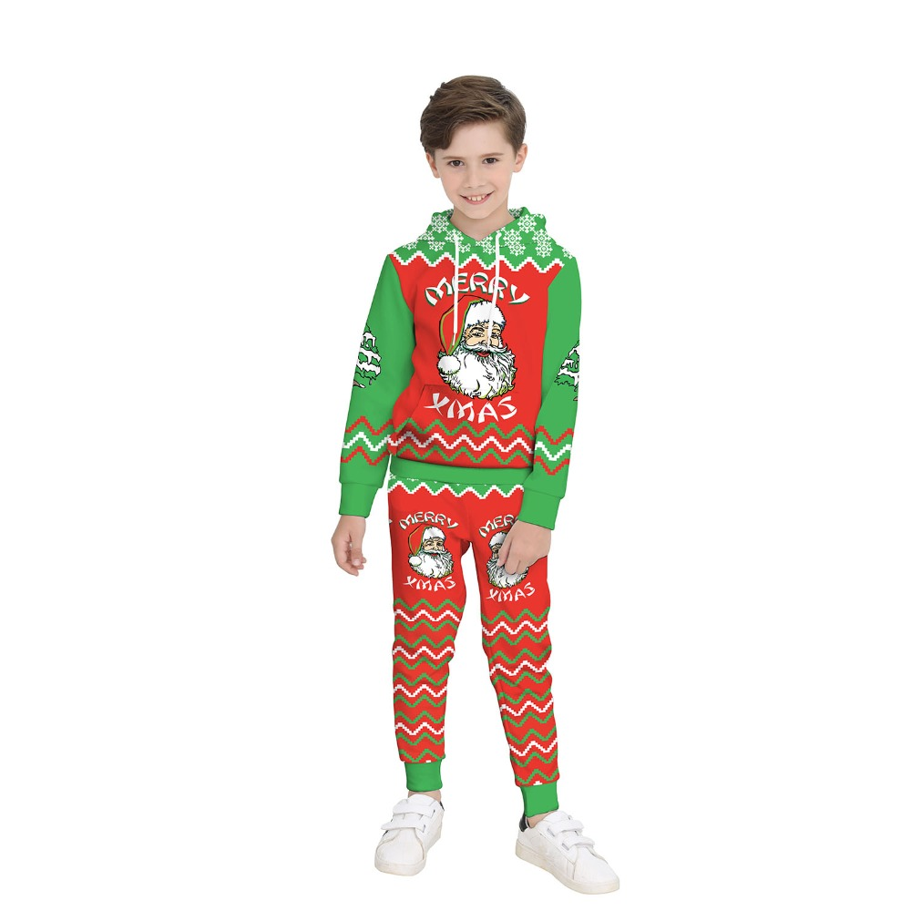 santa claus costume Child outfit New Year Christmas Costume for boy reindeer 3D printing green hoodies sweatshirts Fancy Cosplay