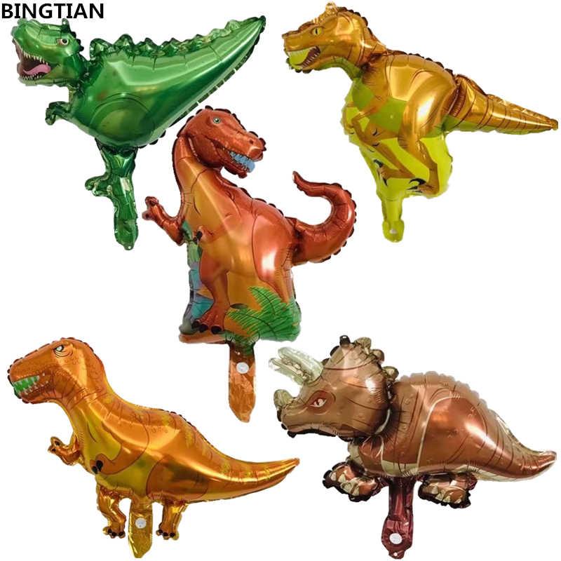 XXYYZZ Mini Hewan Dinosaurus Aluminium Foil Balon Ulang Tahun Pesta Dekorasi Mainan Anak-anak Pesta Bayi Dinosaurus Balon