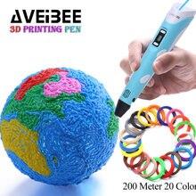 3д ручка 3d Ручка 3 d ручка aveibee 2nd поколения светодиодный Дисплей DIY 3D печать Ручка с 100 м 200 м pla filamens искусства 3 D ручки для рисования игрушка