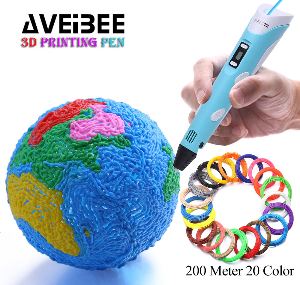 3D Pen AVEIBEE 2nd Generation LED Display DIY 3D Printing Pen With 100M 200 Meter PLA Filamens Arts 3 d Pens For Drawing Toy 3d myriwell pen 2nd generation lcd display diy 3d printer pen with 100m abs pla filament magic 3d pens for kids drawing tools