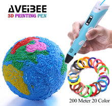 цены 3D Pen Set  LED Display DIY 3 D Printing Pen With 100M 200 Meter PLA Filamens Plastic Arts Toys For School Drawing Painting