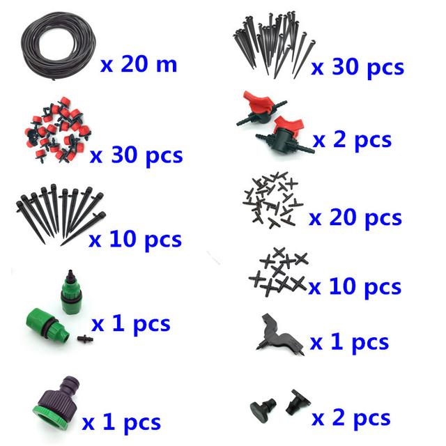 Garden Irrigation Set 108 Pcs 20m 4 / 7mm Hose DIY Gardening Sprinkler Head Hose Bracket Fast Interface Hole Puncher Plug Tee