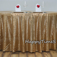 90 Round Wedding Table Decoration Luxury Sequins Tablecloth Party Favor Table Cover