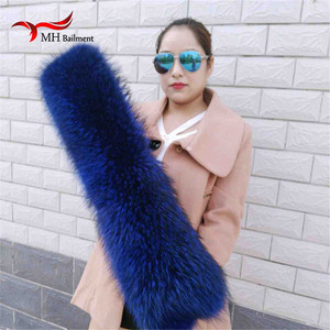 Winter 100% Real Natural Raccoon Fur Collar Womens Scarfs Fashion Coat Sweater Scarves Oversized Neck Cap Scarf, Hat Glove Sets
