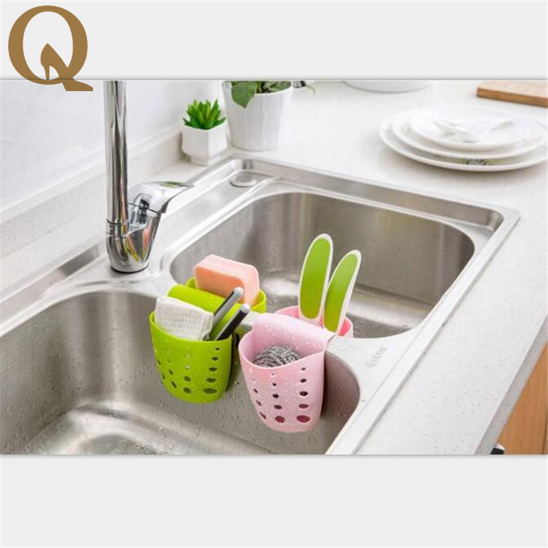 2017 New Hot Sale Multi-purpose Kitchen Storage Baskets Hanging Drain Bag Detachable Sink Sponge Bathroom Debris Container Pouch