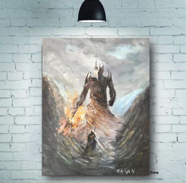 Melkor Vs Fingolfin Epic Fantasy Oil Painting Lord Of The Rings