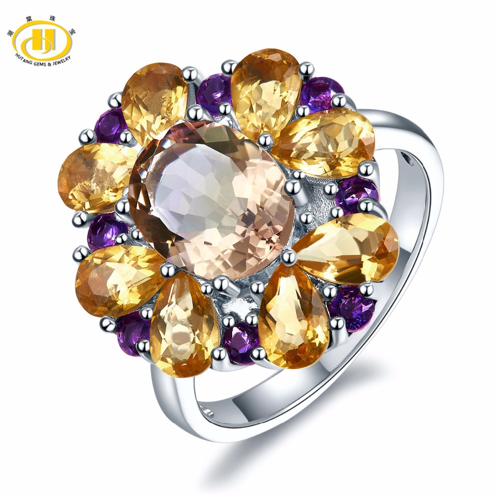 Hutang Engagement Ring 5.7ct Natural Pink Ametrine Citrine Solid 925 Sterling Silver Gemstone Fine Fashion Jewelry Best Gift New jenni new pink solid ruffled chemise l $39 5 dbfl