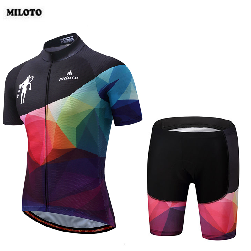 MILOTO 2018 Team Cycling Jersey Mens Black Set Breathable Bike Bicycle Outdoor Short Sleeve Jersey (BIB) Tight Shorts S-4XL