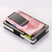 Metal Mini Money Clip Brand Fashion Black White Credit Card ID Holder With RFID Anti-chief Wallet