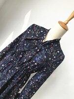 Vintage kleid 2018 mori mädchen frühling herbst Japanischen stil frische design lang flare sleeve v-ausschnitt bowknot dunkelblau druck kleid