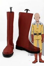 One Punch Man Saitama Caped Baldy Hagemanto Boots Men Boy Red Cosplay Halloween Shoes