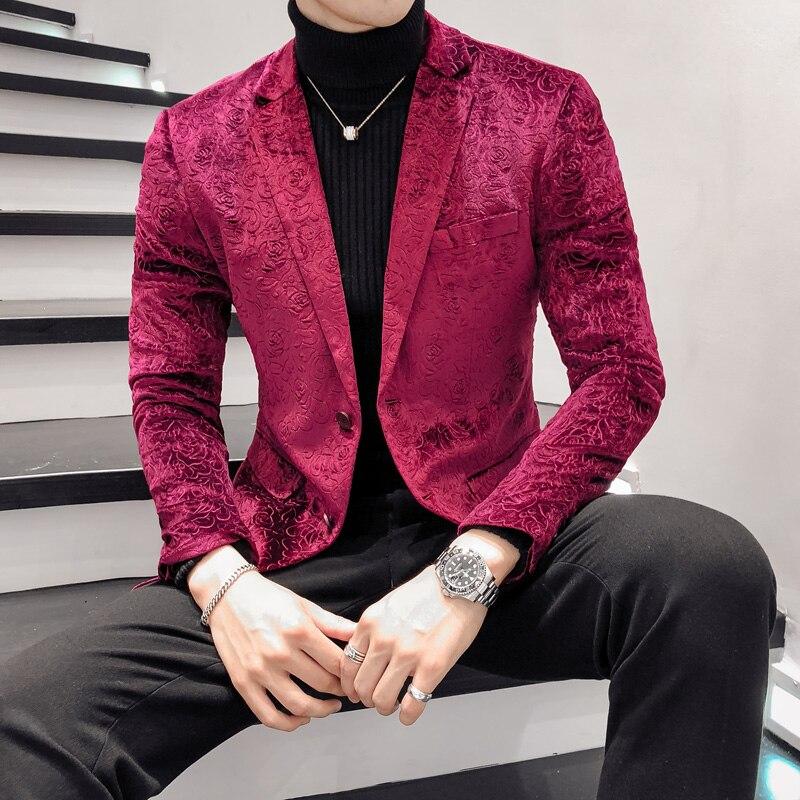 Autumn Men Blazer Long Sleeve Red Rose Flower Coat Men Suit Jacket Asia Size S M L XL XXL XXXL Mens Suits Blazers