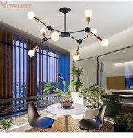 Nórdicos Lustres Iluminação luchters Preto Moderno Lâmpadas led lustres para sala Luzes Penduradas DNA Fixtture Viver Jantar Quarto
