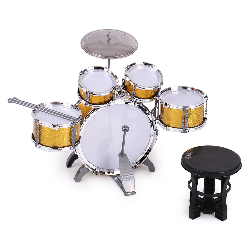 Children Toys Kids Drum Set Musical Instrument Toy 5 Drums with Small Cymbal Stool Drum Stick