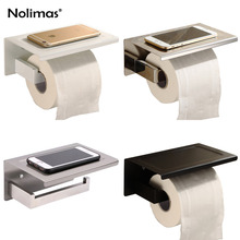 SUS304 Stainless Steel Toilet Paper Holder With Phone Shelf Mirror Polished&Black Wall Mounted Bathroom Paper Holder