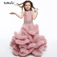Yewen Pink Princess Cloud little flower girls dresses for weddings kids Children Party dresses 2020 Floor Length Ball Gown 8013