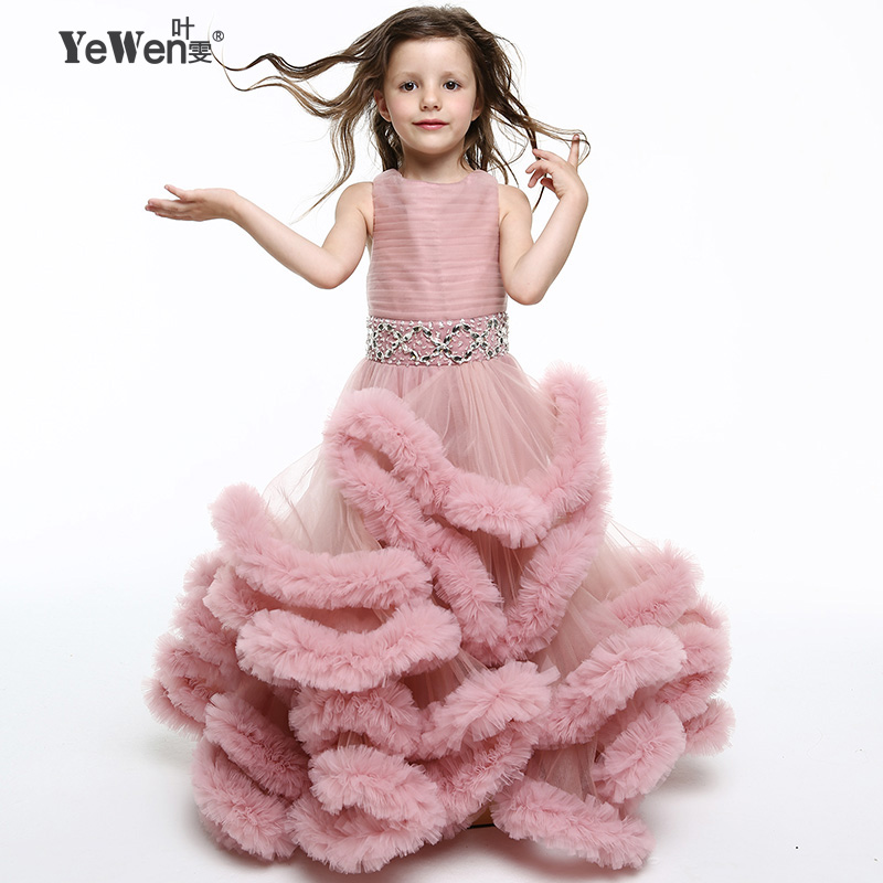 Yewen Pink Princess Cloud little   flower     girls     dresses   for weddings kids Children Party   dresses   2019 Floor Length Ball Gown 8013