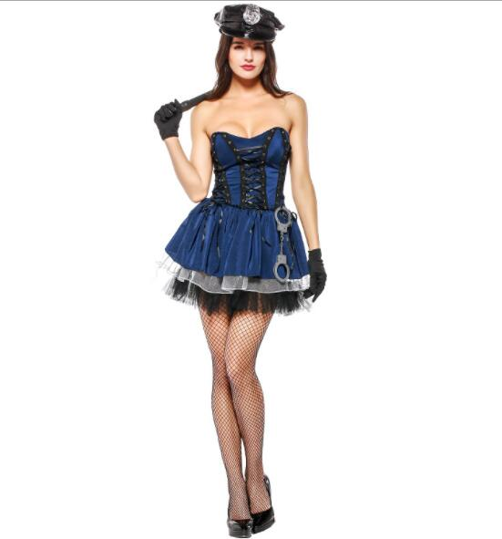 lady Halloween Officer Policewomen Cosplay Fancy Dress Outfit Women Sexy Erotic Fetish Cop Police Costume short dresses A075