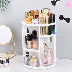 Image 5 - Plastic 360 Rotating Makeup Organizers Comestic Storage Box Organizer Women Desk Make Up Organizer Bathroom Makeup Holder