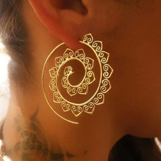 E076 Bohemia Style Swirl Hoop Earring For Women Gold Color Big Circle Round Ethn