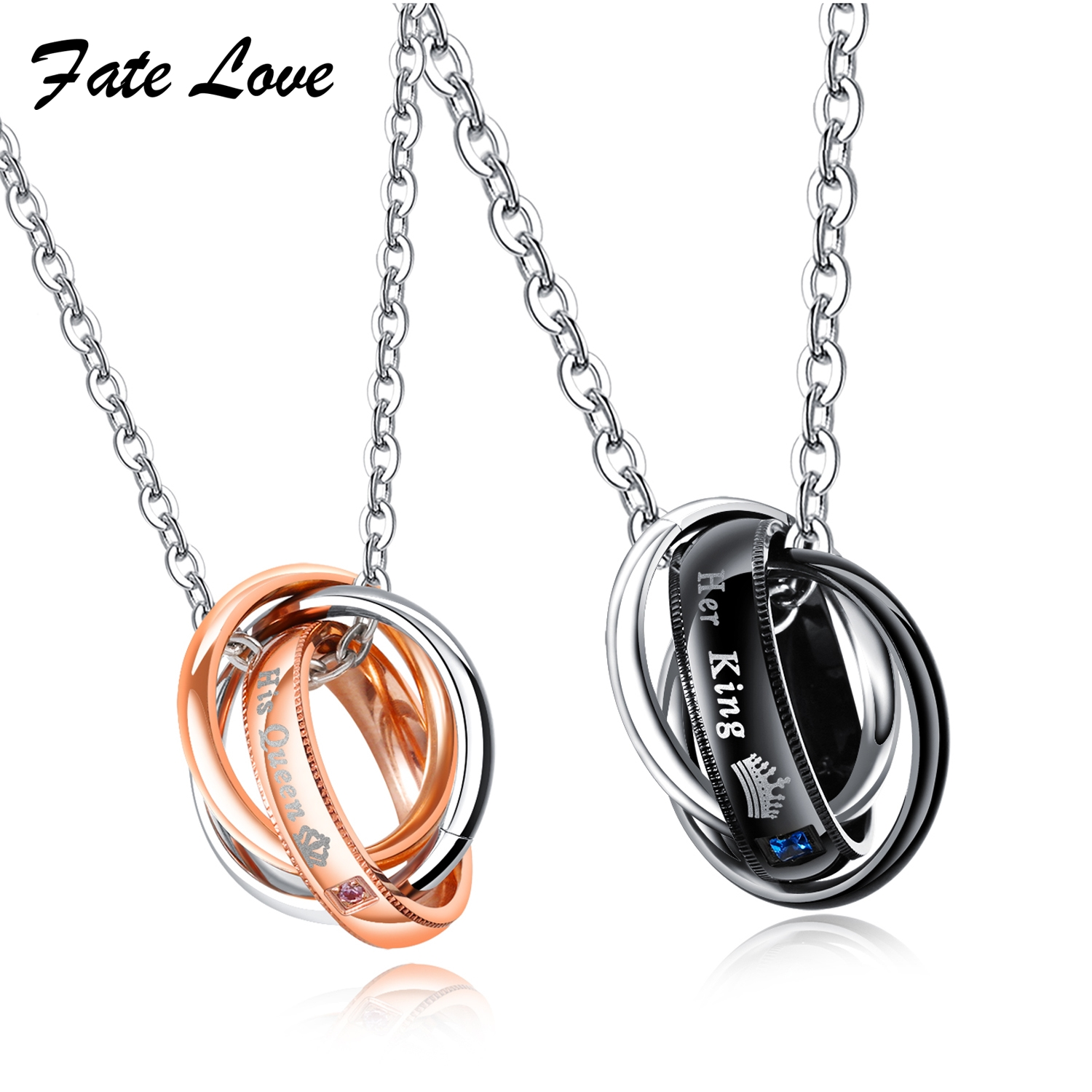 Fate Love Fashion Stainless Steel & CZ Link Chain Romantic 3 Multiple Promise Circle Finger Band Lover Necklack FL1376 ...