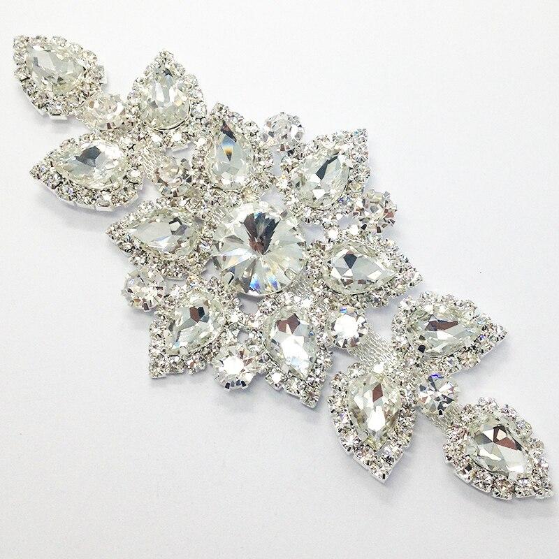 Швейные на горный хрусталь аппликация 1 шт. Серебряное основание прозрачного хрусталя стразы DIY свадебное вечернее платье