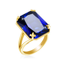 Szjinao New product  925 Sterling Silver gold Ring for Women Square Blue Big sapphire Wholesale silver 925 jewelry