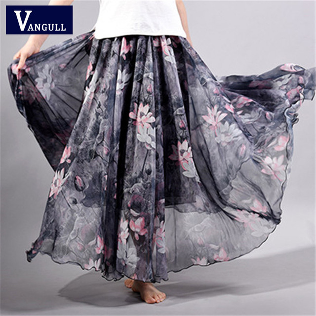2018 Summer New Fashion Vintage Bohemia Chiffon Floral Printed Women Boho Floor-Length Long Maxi Beach Party Loose Flare Skirt
