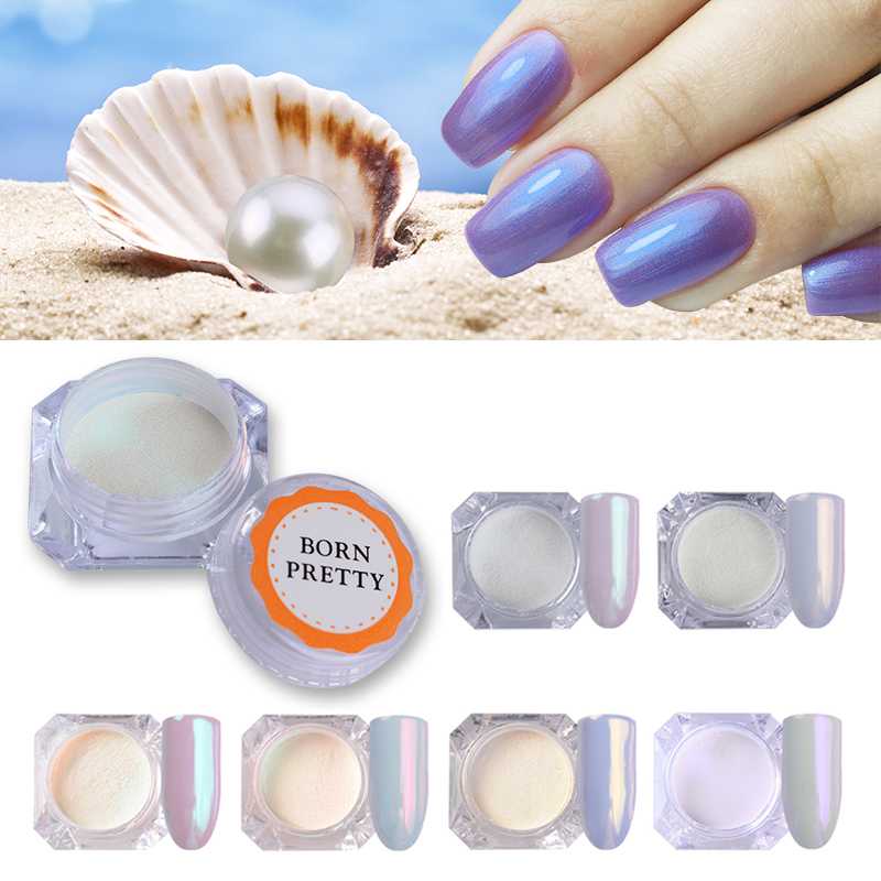 Pearl Shell Mermaid Nail Glitter Powder Shimmer Glimmer Nail Art Pigment Dust Powder Manicure Nail Art Decoration UV Gel