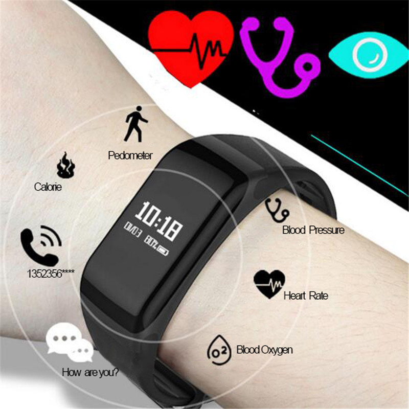 F1 Smart Band Pewant Blood Oxygen Blood Pressure Watches Fitness Sport Bracelet Heart Rate Monitor Call/SMS Reminder Pk Miband2
