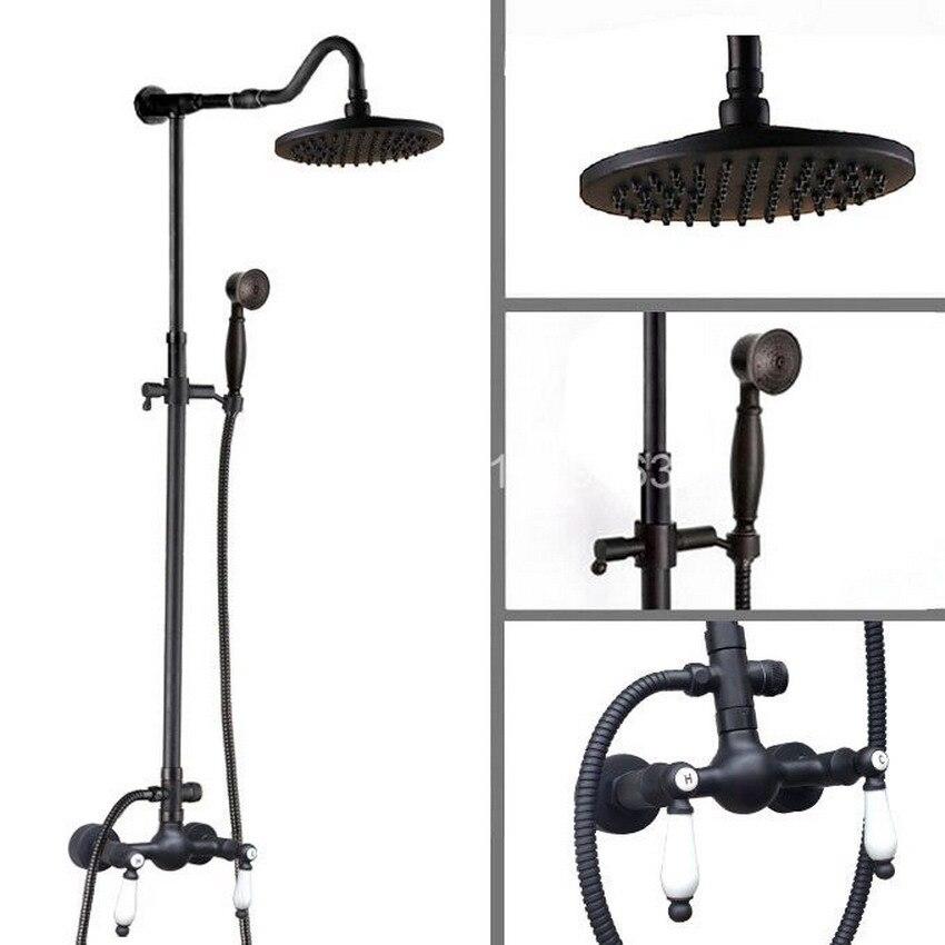 New Bathroom 8 Round Spray Rain Rainfall Top/Hand-held Shower Head Set Black Oil Rubbed Brass ars775