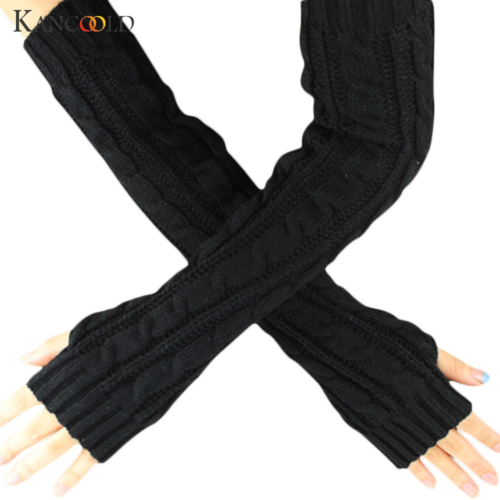 KANCOOLD Gloves Winter Hemp Flowers Fingerless Knitted Long Gloves High Quality Soft Fashion Casual Gloves Women 2018NOV23