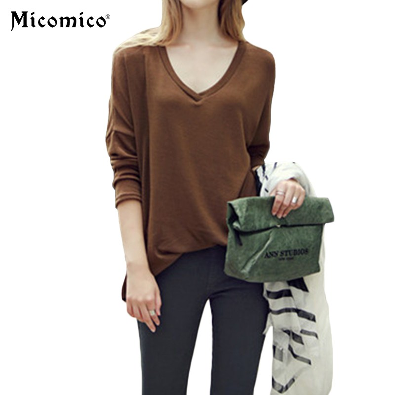 Blouse Women Basic V neck Solid Shirts Long Loose Sleeve Top Vintage Ladies Fashion Chiffon Causal