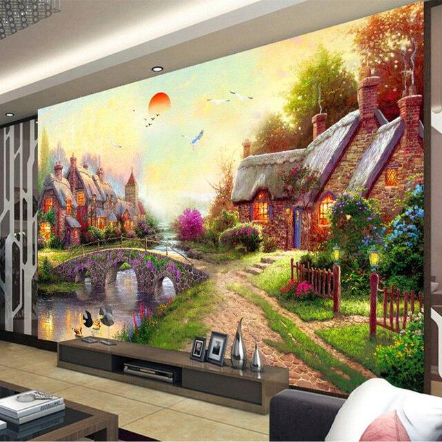 Fantastisch Foto Tapete Europäischen Stil Pastoralen Ölgemälde Landschaft 3D  Wandmalereien Wohnzimmer Galerie Hintergrund Wand Dekor Tapeten