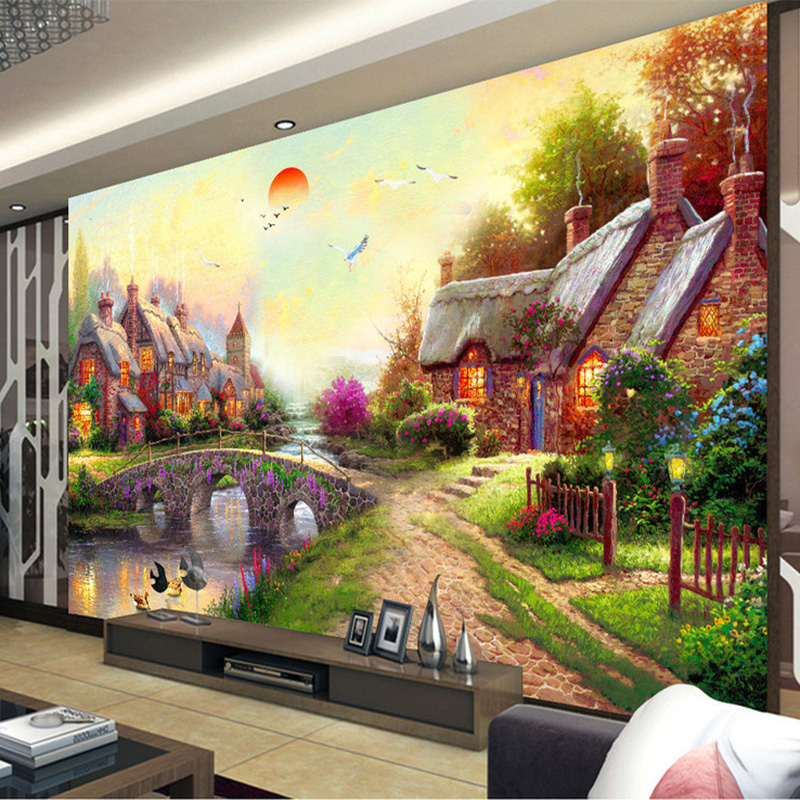 Photo Wallpaper European Style Pastoral Oil Painting Landscape 3D Wall Murals Living Room Gallery Backdrop Wall Decor Wallpapers