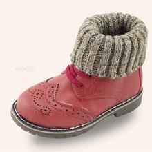 2015 Crush Baby's Shoes Plush Cotton Kids Toddler Winter Warm British Boys Girls Leather Boots Children's Boost Wool KX703