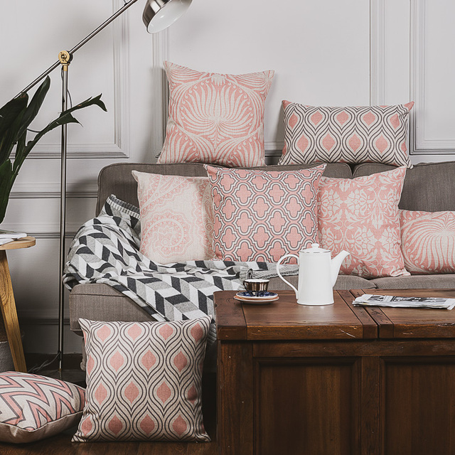Modern Dusty Pink Chevron Quatrefoil Cushion Cover Linen