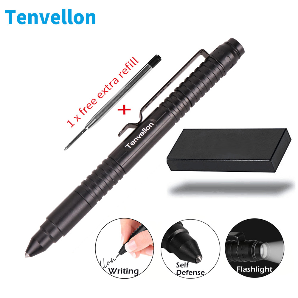 Tenvellon Self Defense Supplies Tactical Pen Flashlight Writing Safety Security Protection Personal Defense EDC Defensa Personal