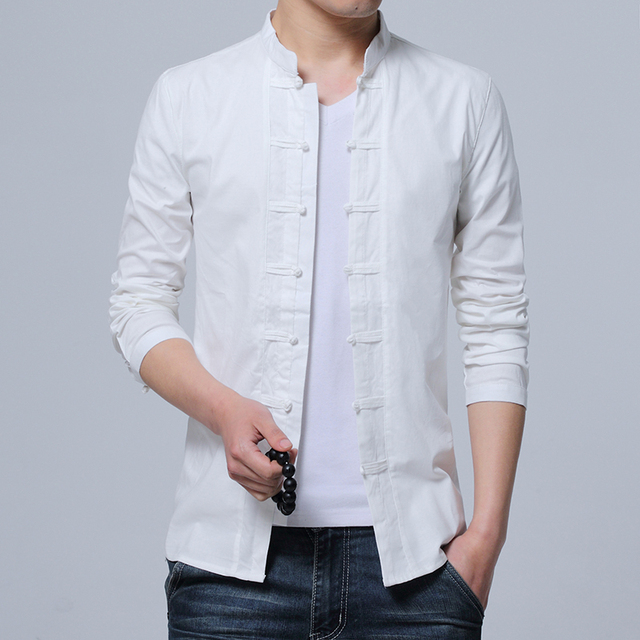 a8798a6656b4 Men Shirt Cotton Chinese Tradition Style 2018 New Arrival Male Solid Color  Mandarin Collar Long Sleeve Casual Shirt XXL 4XL